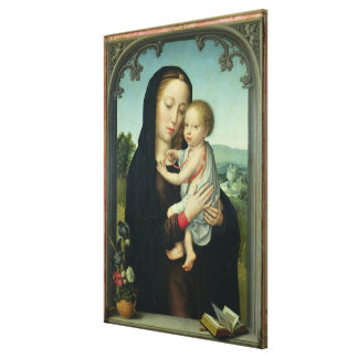 Virgin and Child (oil on panel) Canvas Print