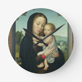 Virgin and Child (oil on panel) Round Clock
