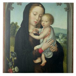 Virgin and Child (oil on panel) Ceramic Tiles