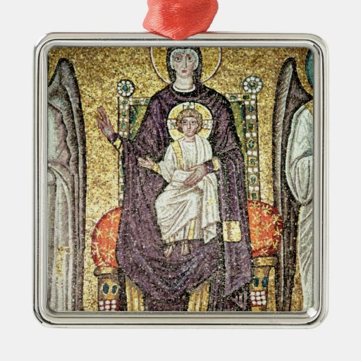 Virgin and Child Square Metal Christmas Ornament