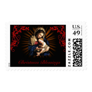 Virgin and Child stamp, Christmas Blessings