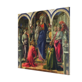 Virgin and Child surrounded by Angels Canvas Print