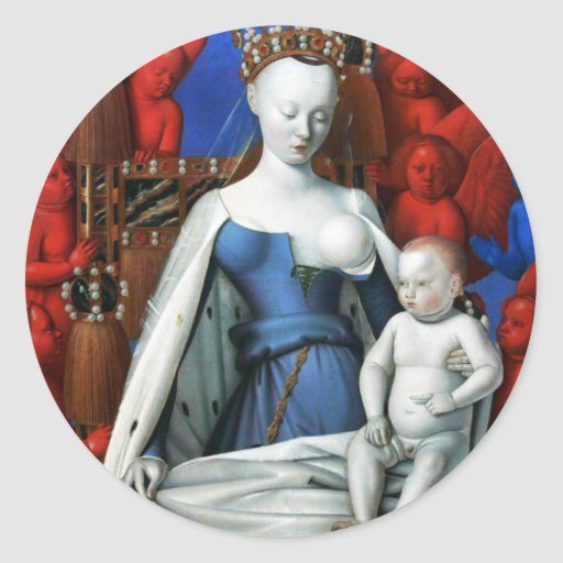 Virgin and Child surrounded by Angels - Fouquet Classic Round Sticker