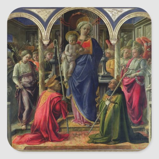 Virgin and Child surrounded by Angels Square Sticker