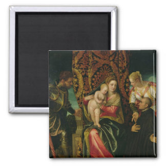 Virgin and Child with a Benedictine monk 2 Inch Square Magnet