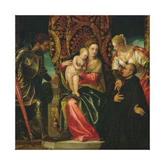 Virgin and Child with a Benedictine monk Canvas Print
