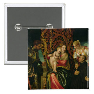 Virgin and Child with a Benedictine monk Pinback Button