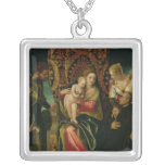 Virgin and Child with a Benedictine monk Square Pendant Necklace