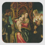 Virgin and Child with a Benedictine monk Square Sticker