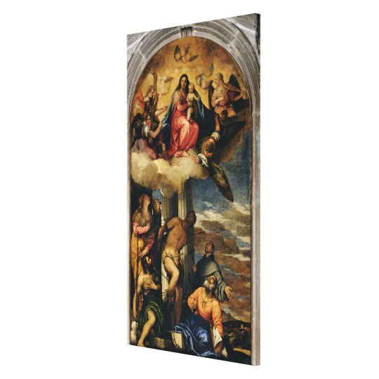 Virgin and Child with angel musicians and Saints Canvas Print