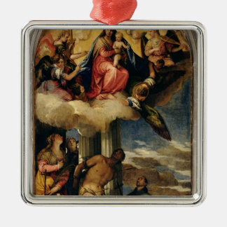 Virgin and Child with angel musicians and Saints Metal Ornament