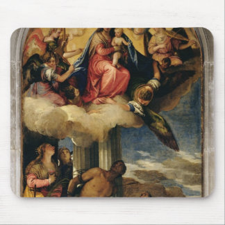 Virgin and Child with angel musicians and Saints Mouse Pad