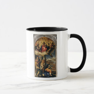 Virgin and Child with angel musicians and Saints Mug
