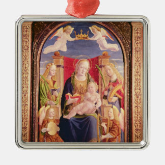 Virgin and Child with angel musicians and saints Square Metal Christmas Ornament
