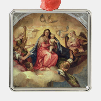 Virgin and Child with angel musicians Metal Ornament