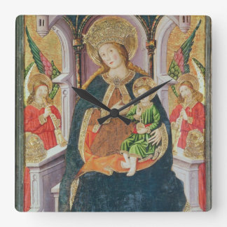 Virgin and Child with Angel Musicians Square Wall Clock