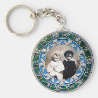 VIRGIN AND CHILD WITH ANGELS , PHOTO TEMPLATE BASIC ROUND BUTTON KEYCHAIN