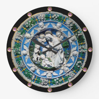 VIRGIN AND CHILD WITH ANGELS, Round Pink Gemstones Large Clock
