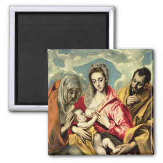 Virgin and Child with SS. Anne and Joseph 2 Inch Square Magnet
