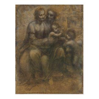 Virgin and Child with St Anne by Leonardo da Vinci Postcard