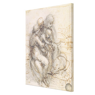 Virgin and Child with St. Anne, c.1501-10 (pen and Canvas Print