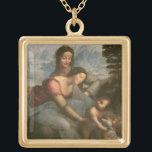 "Virgin and Child with St. Anne, c.1510 Gold Finish Necklace<br><div class=""desc"">Image Collection Number:  XIR505  Virgin and Child with St. Anne,  c.1510 (oil on panel). Vinci,  Leonardo da (1452-1519) oil on panel. Louvre,  Paris,  France Giraudon.  16th</div>"
