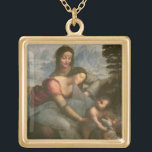 """Virgin and Child with St. Anne, c.1510 Gold Plated Necklace<br><div class=""""desc"""">Image Collection Number:  XIR505  Virgin and Child with St. Anne,  c.1510 (oil on panel). Vinci,  Leonardo da (1452-1519) oil on panel. Louvre,  Paris,  France Giraudon.  16th</div>"""