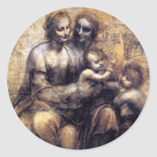 Virgin and Child with St. Anne sketch Classic Round Sticker