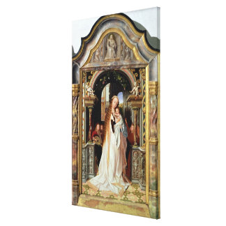 Virgin and Child with Three Angels, central panel Canvas Print