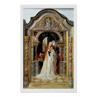 Virgin and Child with Three Angels, central panel Poster