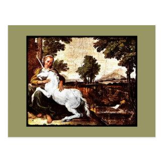 Virgin and the Unicorn Postcard