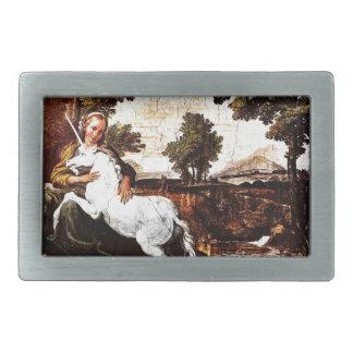 Virgin and the Unicorn Rectangular Belt Buckle