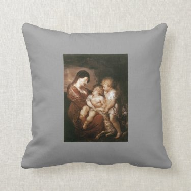 Virgin & Child with Infant St.John by Peter Rubens Throw Pillow