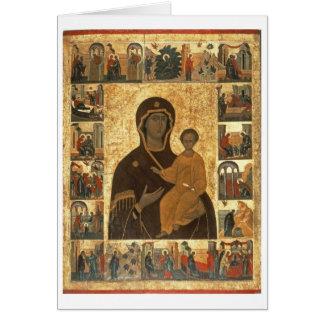 Virgin Hodegetria Icon of Smolensk, c.1450 (temper Card