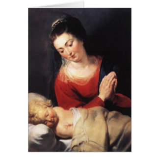Virgin in Adoration before the Christ Child Card