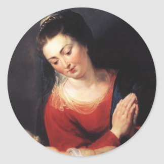 Virgin in Adoration before the Christ Child Classic Round Sticker
