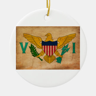 Virgin Islands Flag Double-Sided Ceramic Round Christmas Ornament