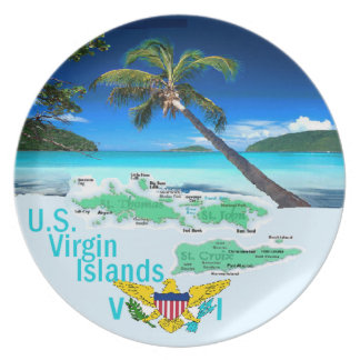 VIRGIN ISLANDS MELAMINE PLATE