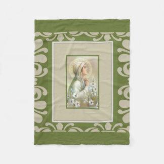 Virgin Madonna Mary Lilies Green Decor Fleece Blanket