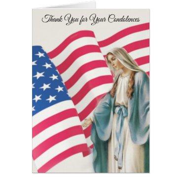 Virgin Mary American Flag Condolence Thank You