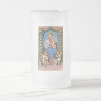 Virgin Mary and Baby Jesus Frosted Glass Beer Mug