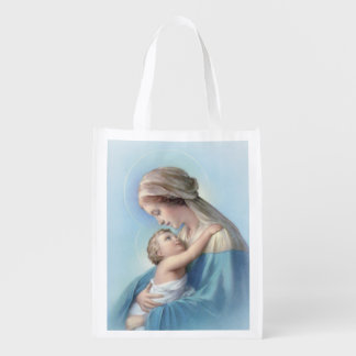 Virgin Mary and Baby Jesus Grocery Bag