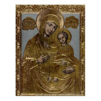 Virgin Mary and Infant Jesus Christ Golden Elegant Postcard