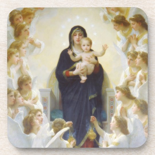 Virgin Mary and Jesus with angels Drink Coaster