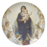 Virgin Mary and Jesus with angels Melamine Plate