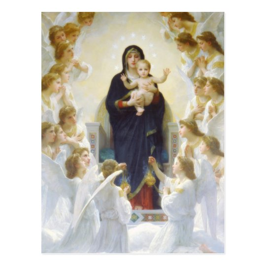 Virgin Mary and Jesus with angels Postcard