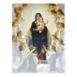 Virgin Mary and Jesus with angels Postcards