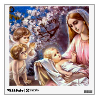 Virgin Mary and Jesus with Child Angels Wall Decal