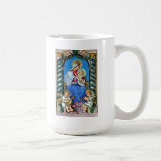 Virgin Mary, Angels and Baby Jesus Christmas Mug