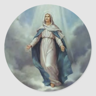 Virgin Mary Assumption Classic Round Sticker